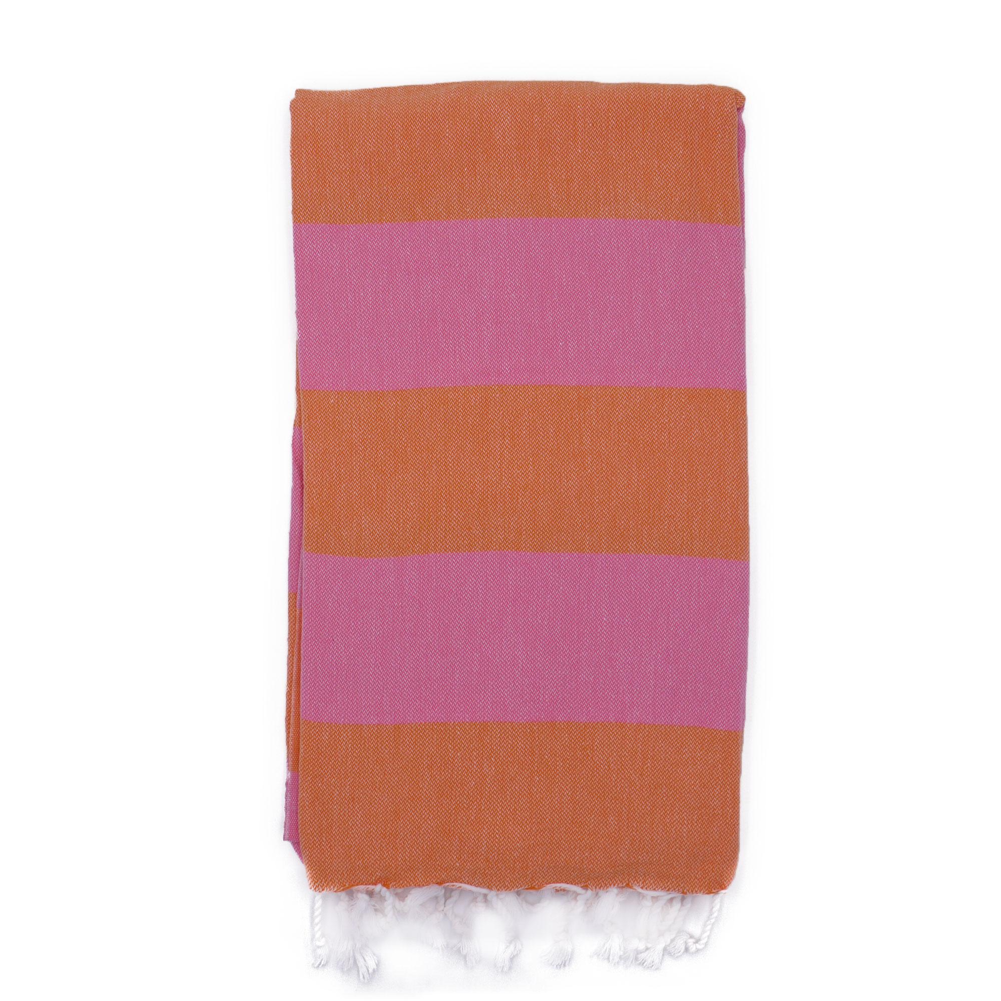 Fouta en coton avec franges orange et rose 100x160cm