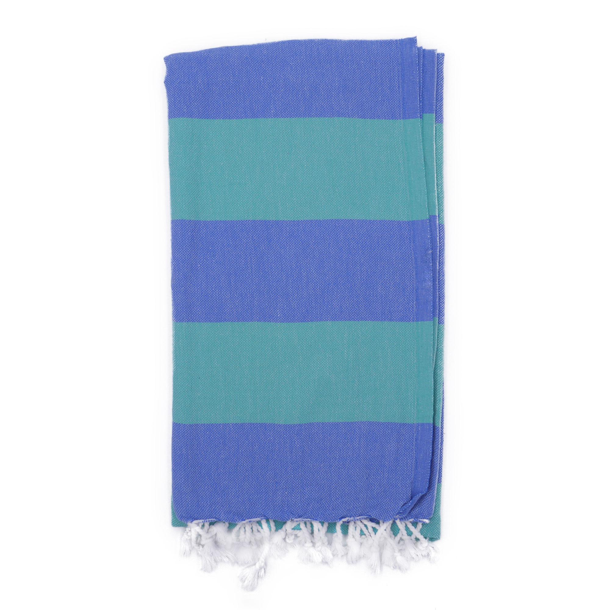 Fouta en coton avec franges bleu et vert 100x160cm