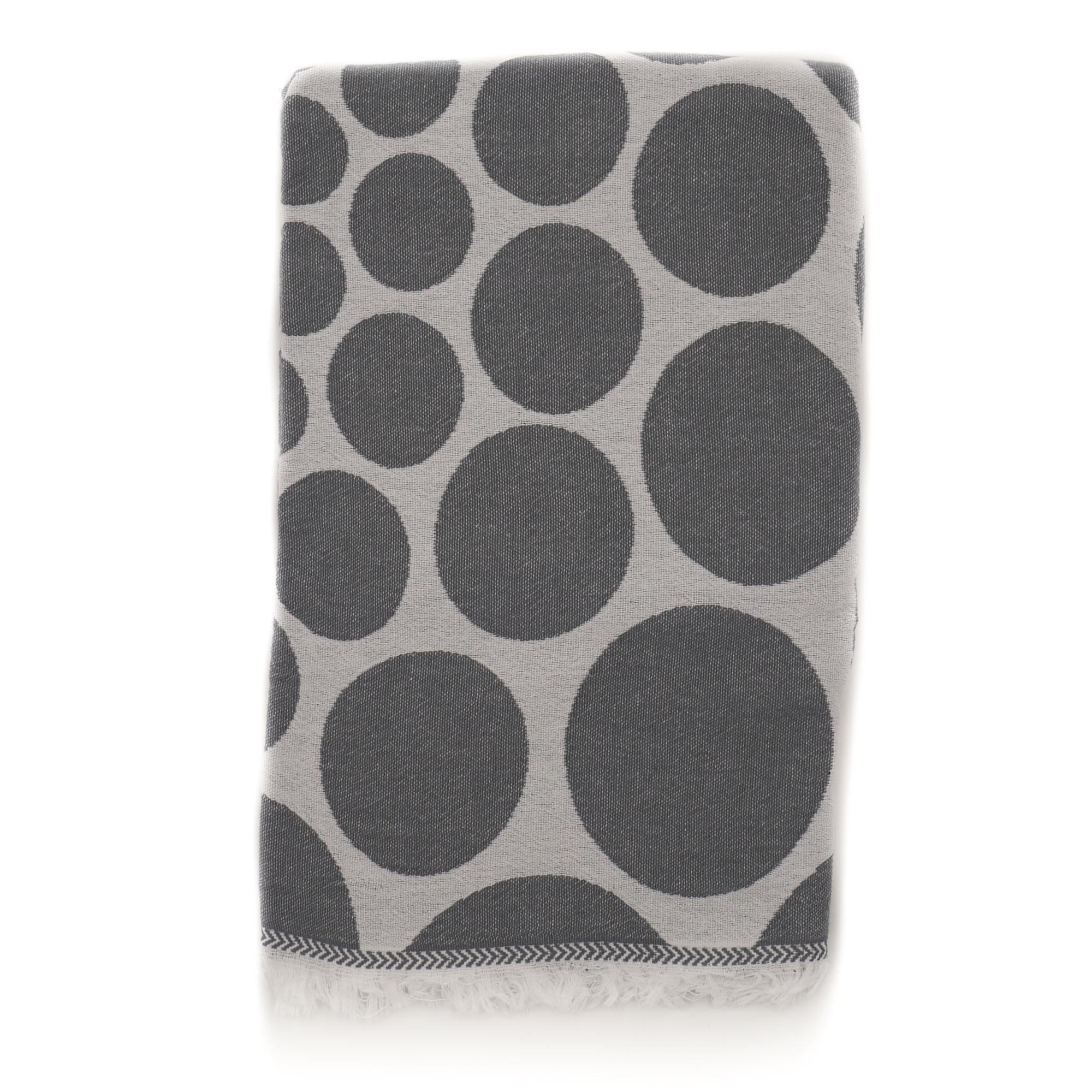 Fouta pois en coton avec franges grise 95x170cm
