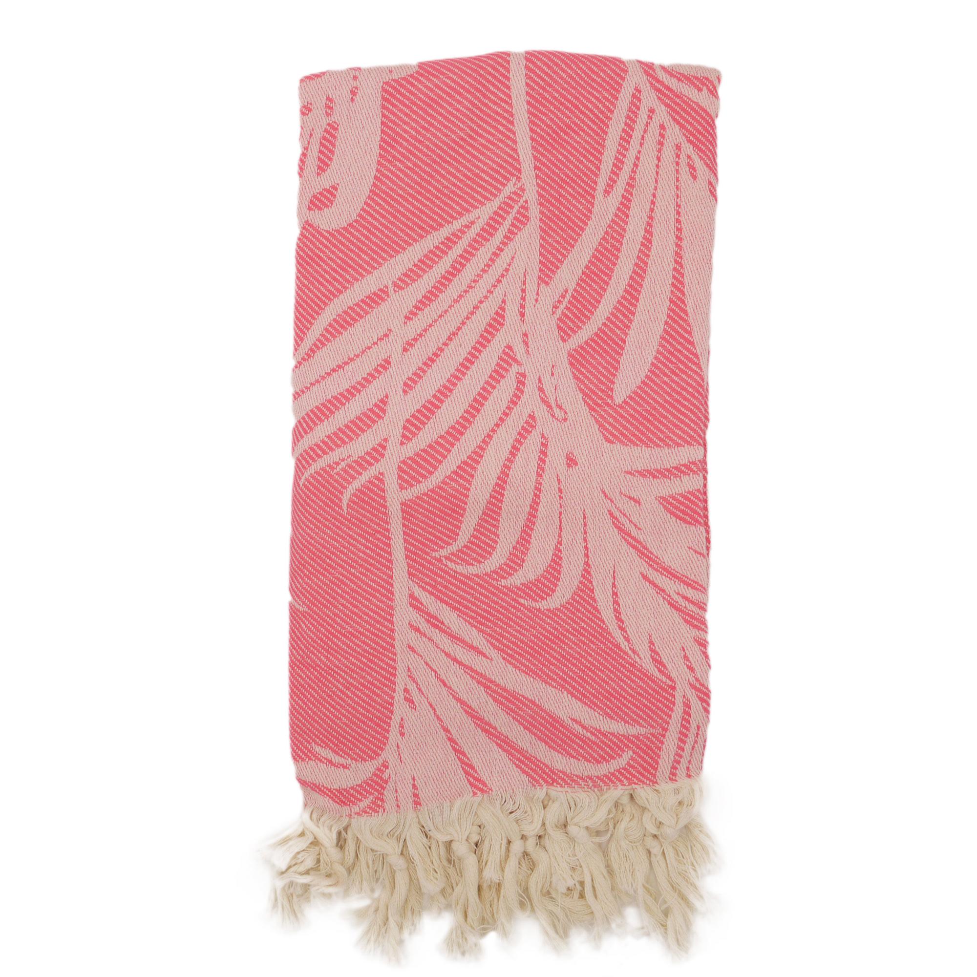 Fouta palmiers 100% coton avec franges rose 100x180cm