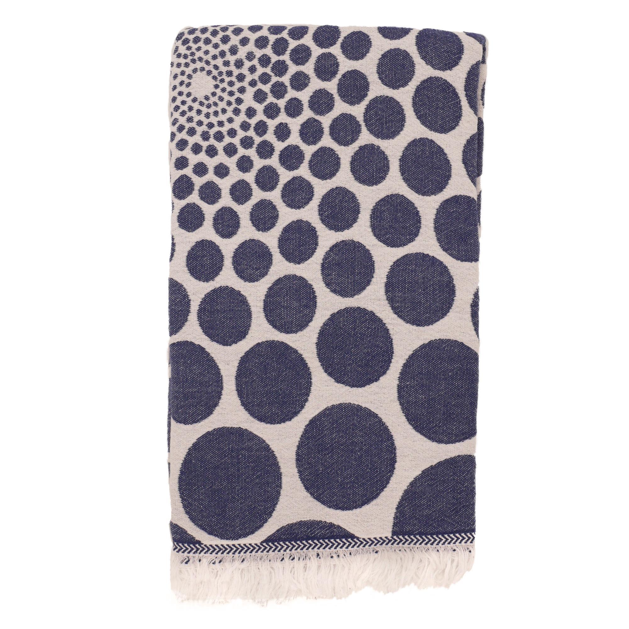 Fouta pois en coton avec franges bleu marine 95x170cm