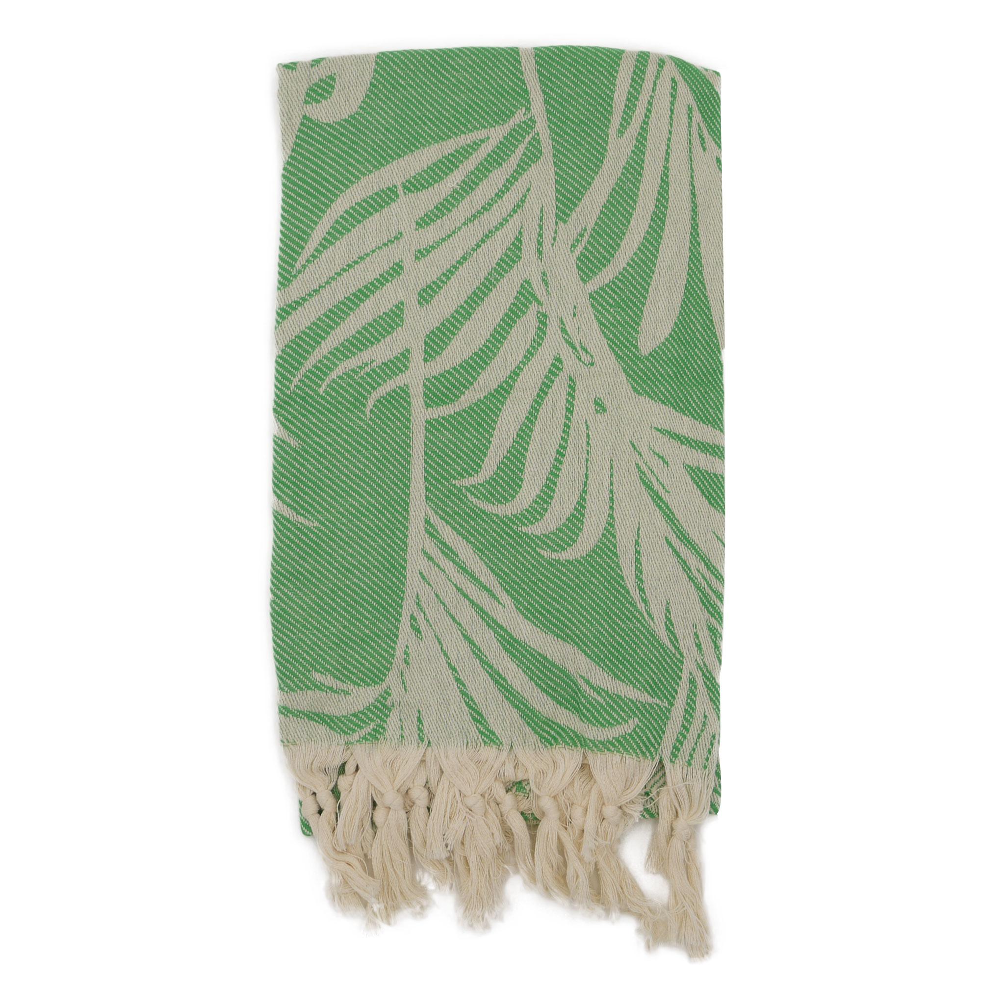 Fouta palmiers 100% coton avec franges verte 100x180cm