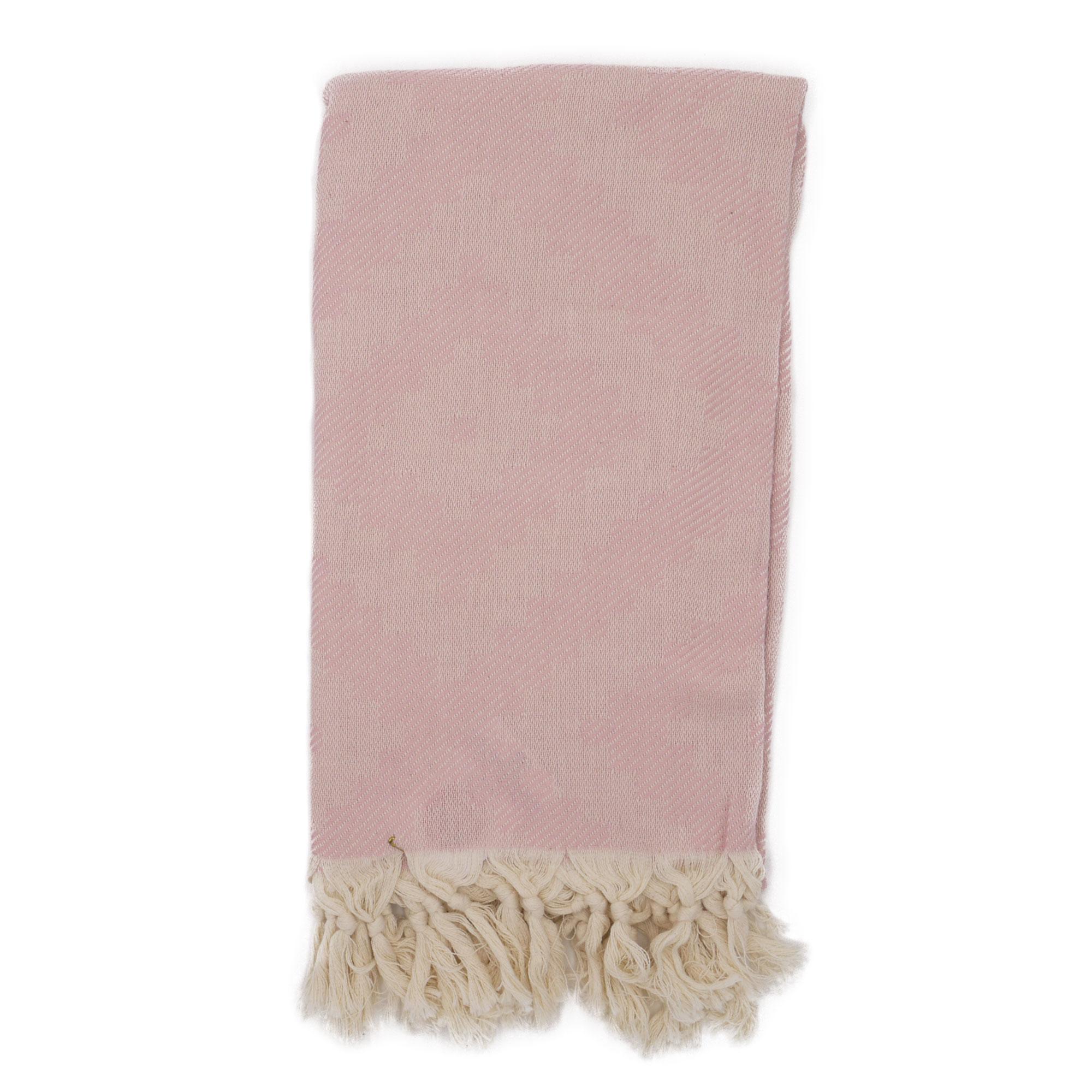 Fouta losanges 100% coton avec franges rose 100x170cm