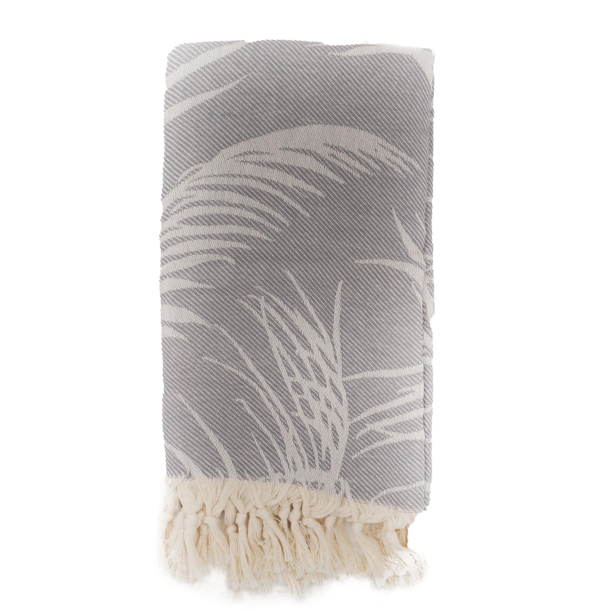 Fouta palmiers 100% coton avec franges grise 100x180cm