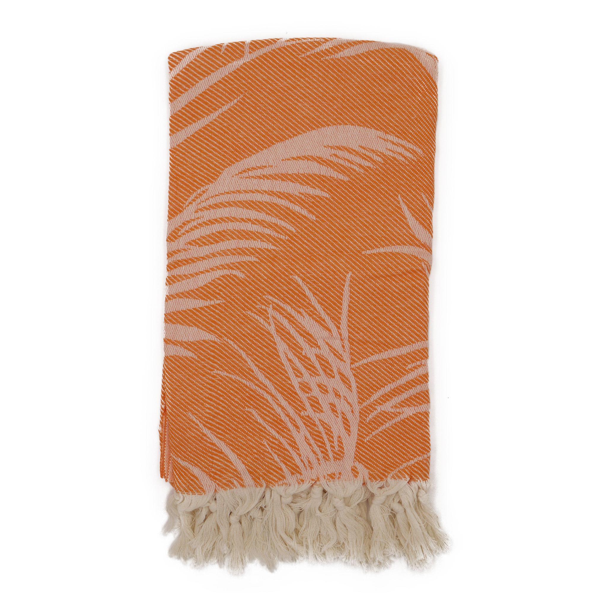 Fouta palmiers 100% coton avec franges orange 100x180cm