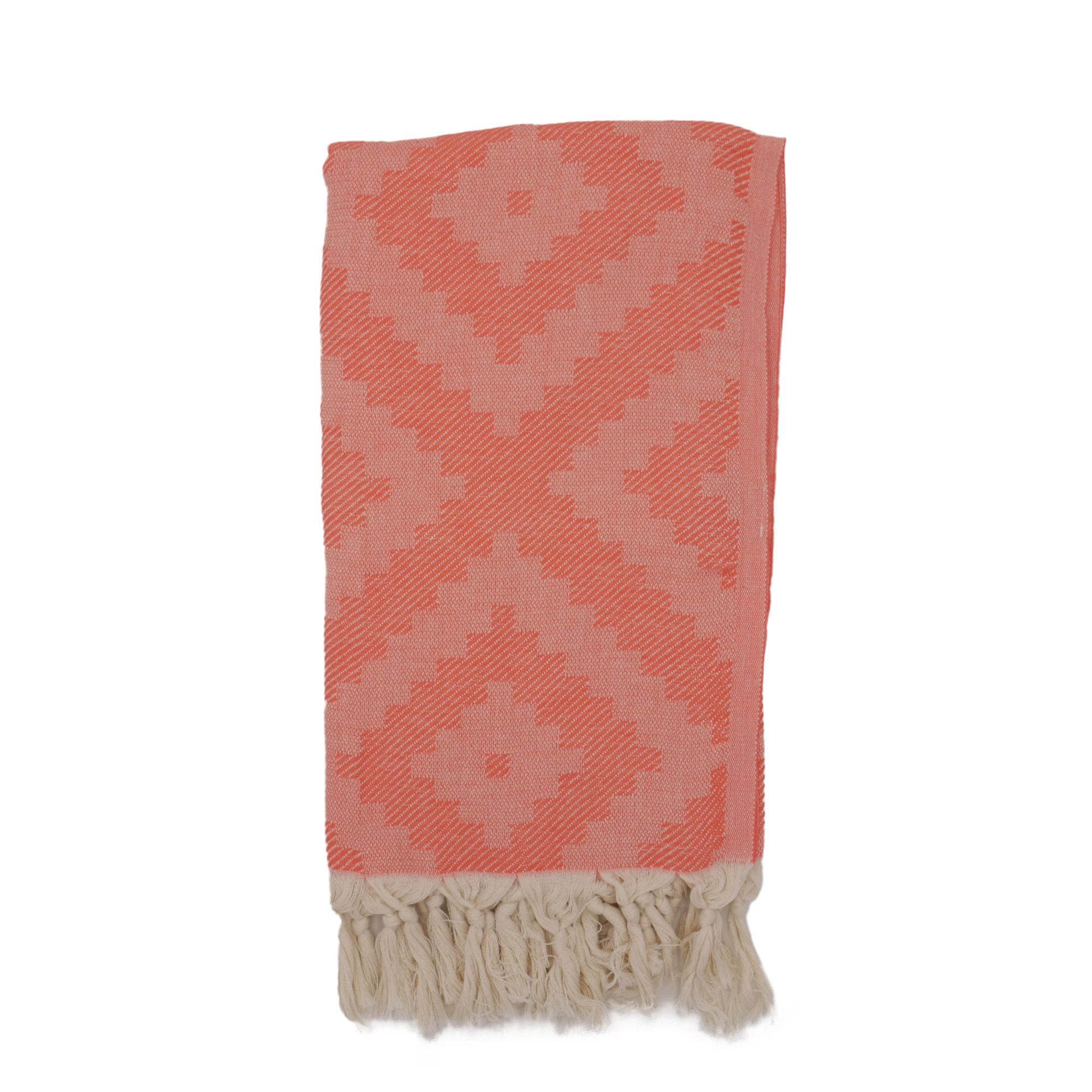 Fouta losanges 100% coton avec franges corail 100x170cm