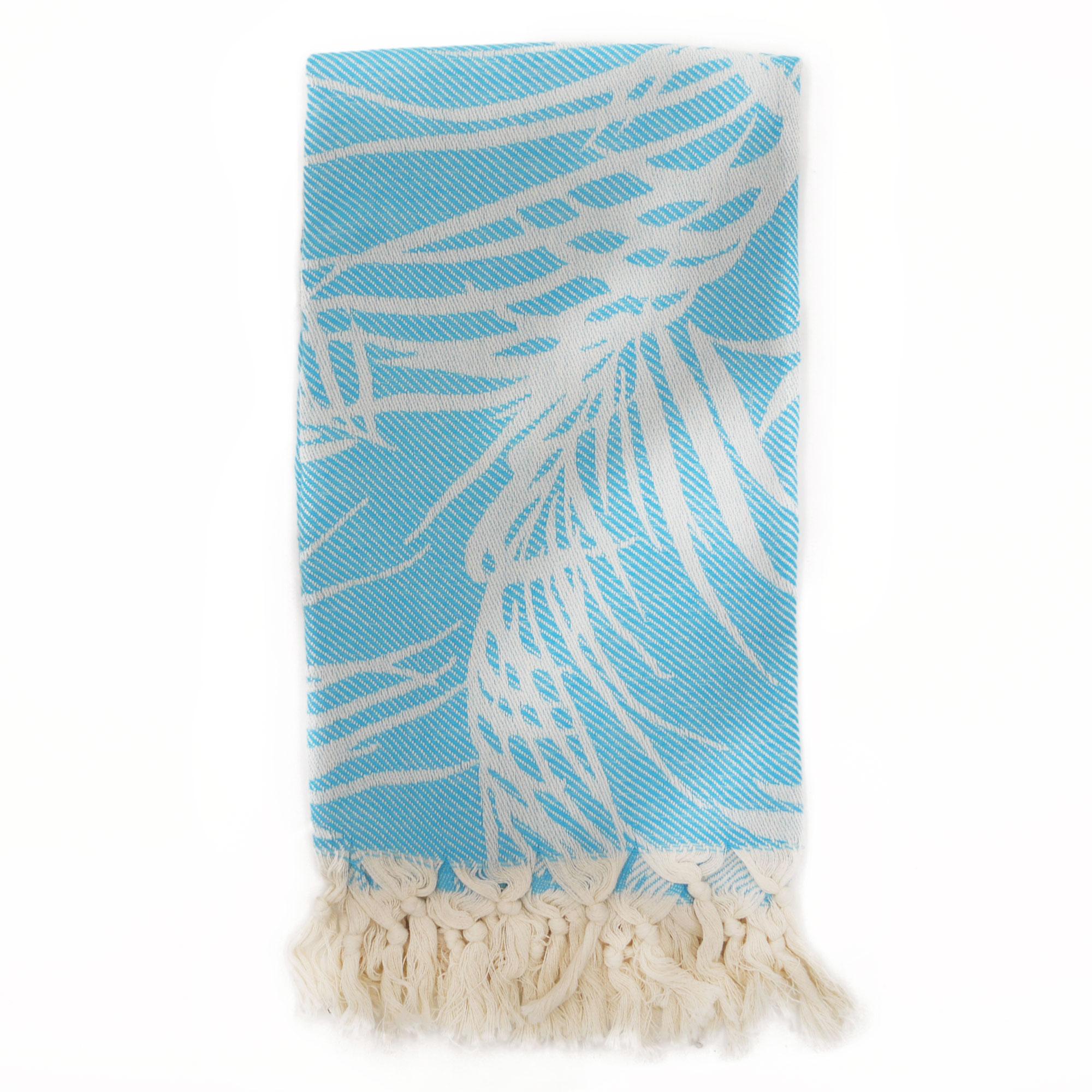 Fouta palmiers 100% coton avec franges turquoise 100x180cm