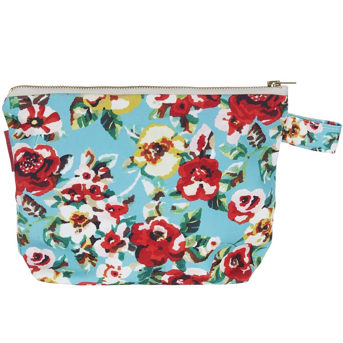 Pochette en toile outdoor imprimé fleuri turquoise
