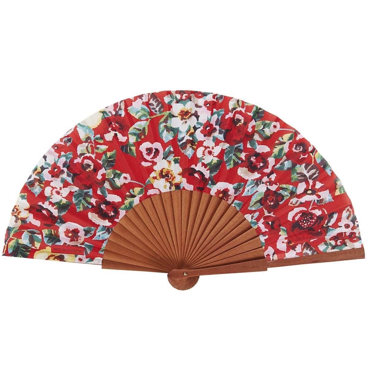 Éventail en bois de merisier et coton fleuri rouge