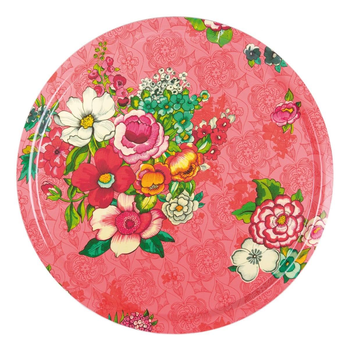 Plateau rond 46cm feuilles de bois motif fleuri rose
