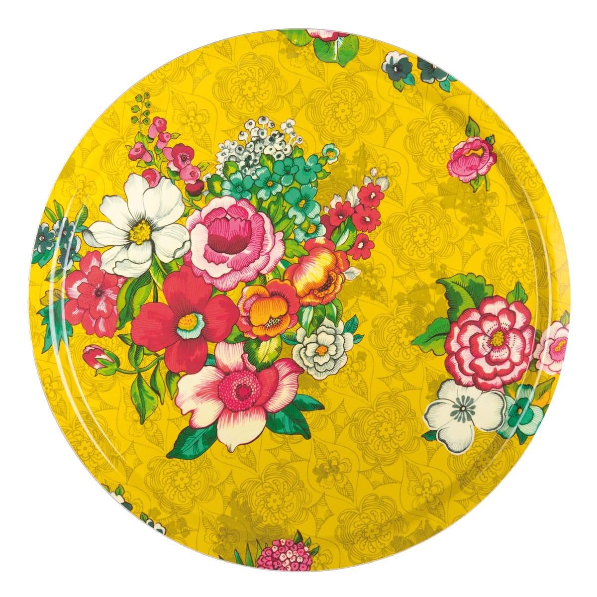 Plateau rond 46cm feuilles de bois motif fleuri jaune
