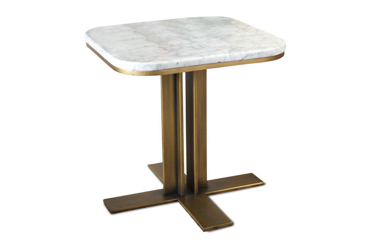 maison du monde Table d'appoint en métal et marbre blanc