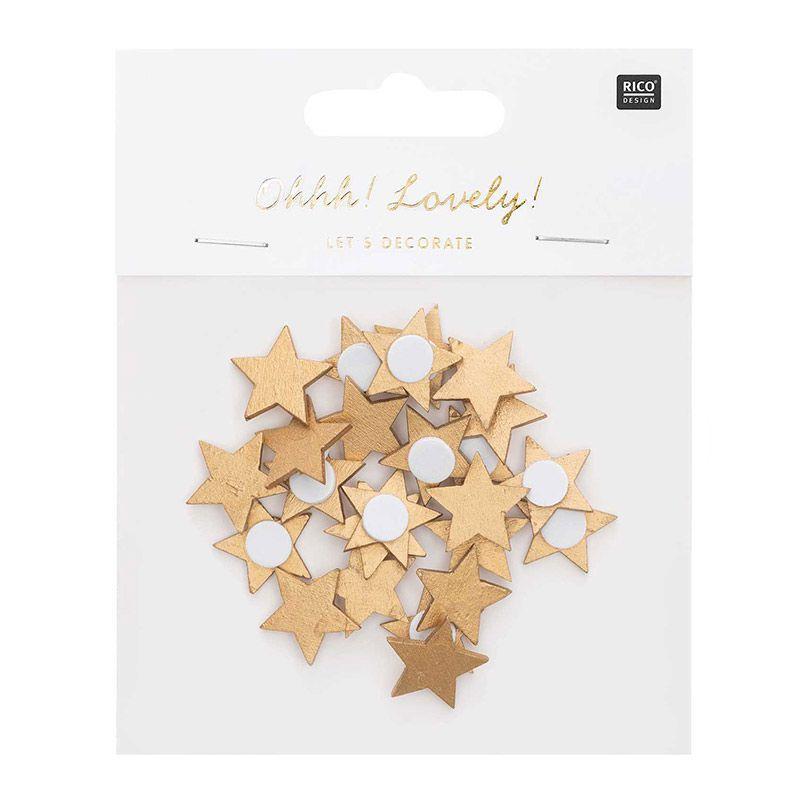 Autocollants étoiles en bois dorés