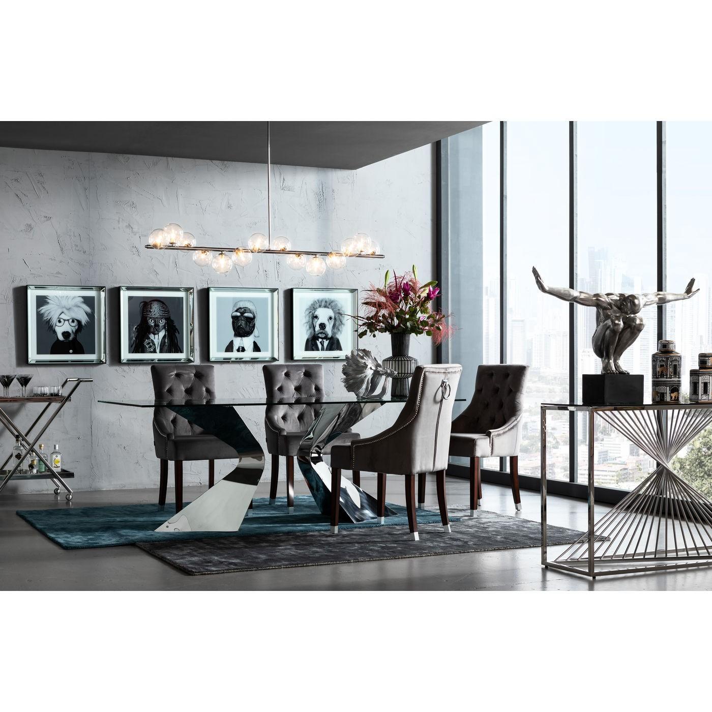 Chaise avec accoudoirs en velours gris et hêtre