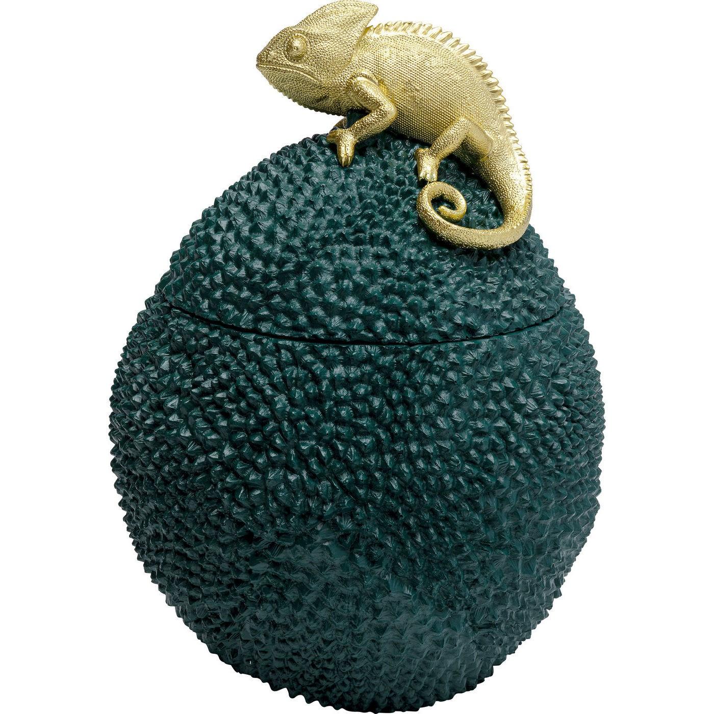 Boîte verte caméléon doré en polyrésine H34