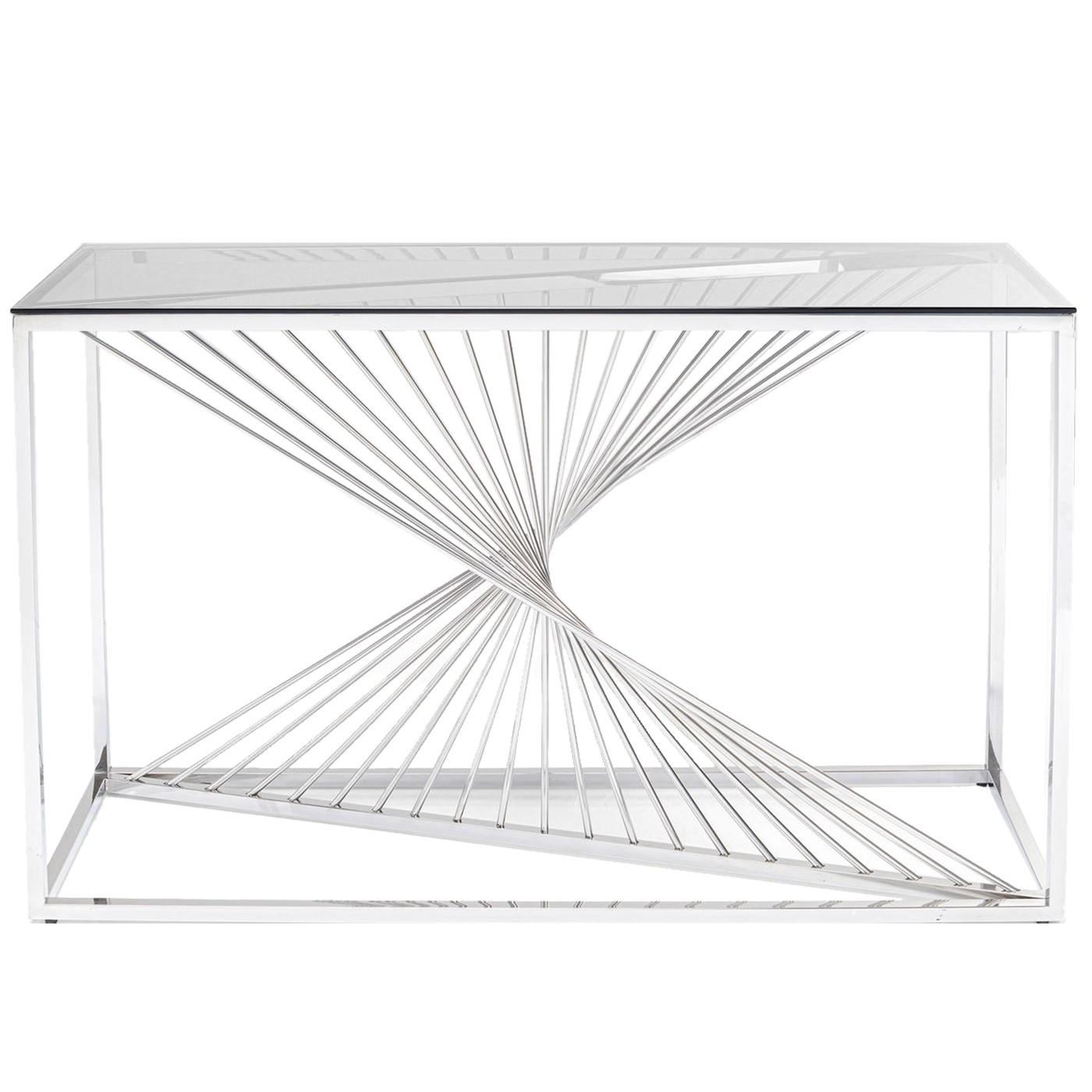maison du monde Console en verre et acier chromé
