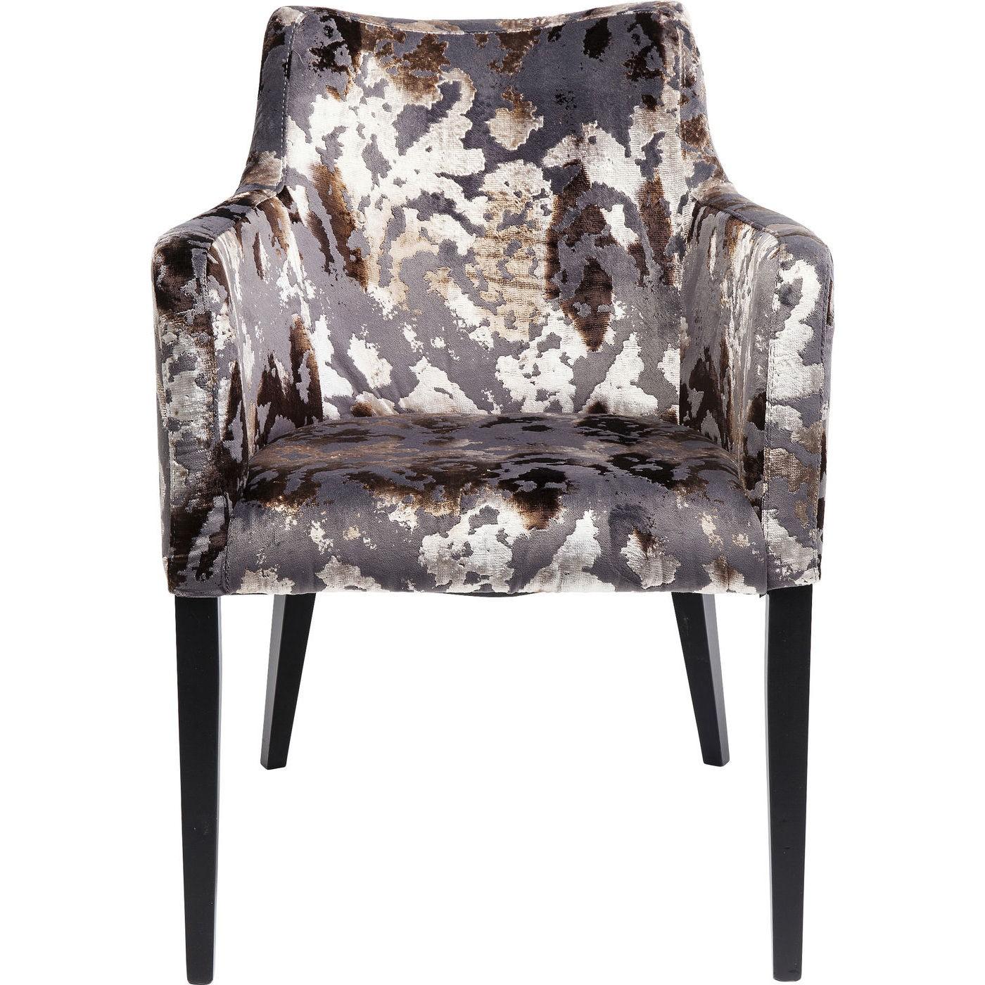 Chaise avec accoudoirs en velours marron et hêtre noir