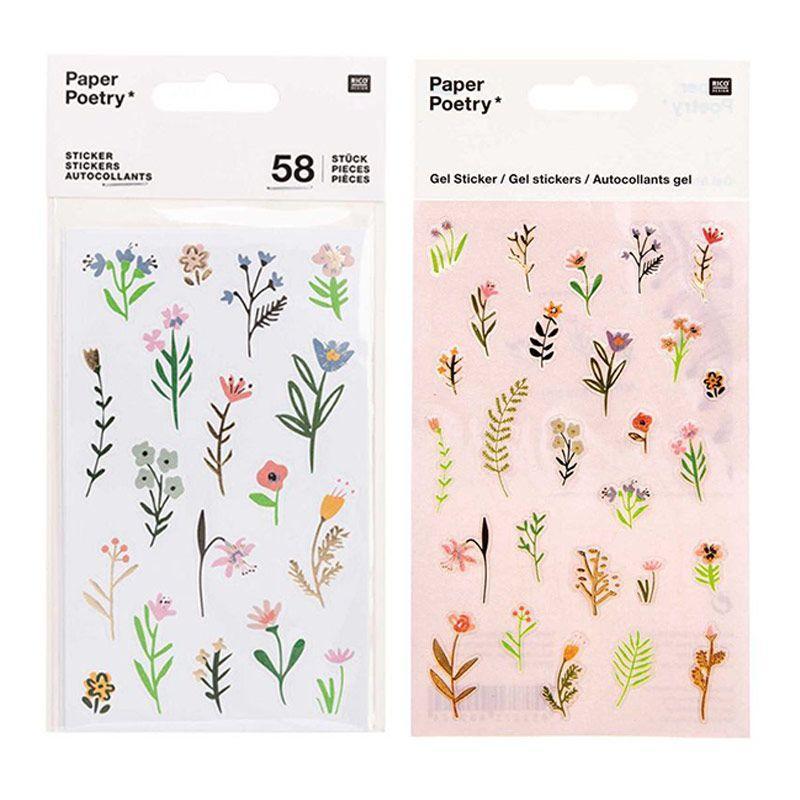 2 planches de stickers gel fleurs