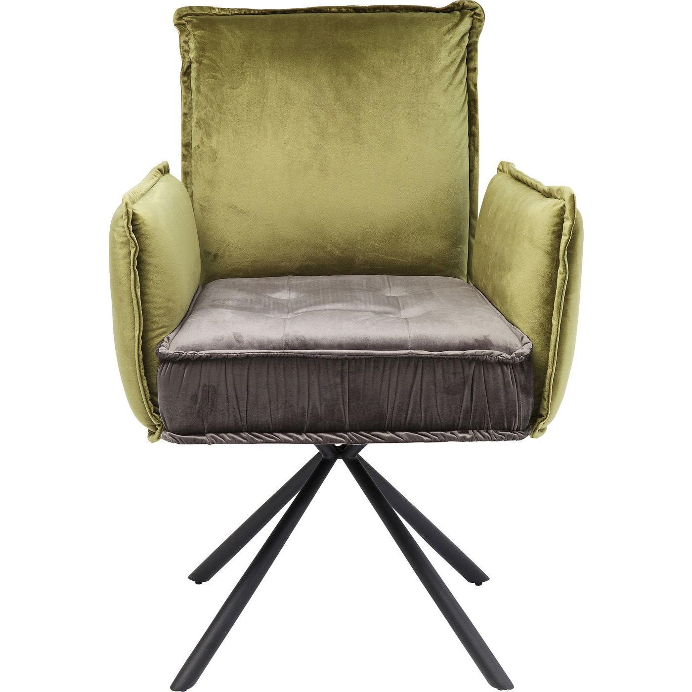 maison du monde Chaise avec accoudoirs en velours vert/gris et acier
