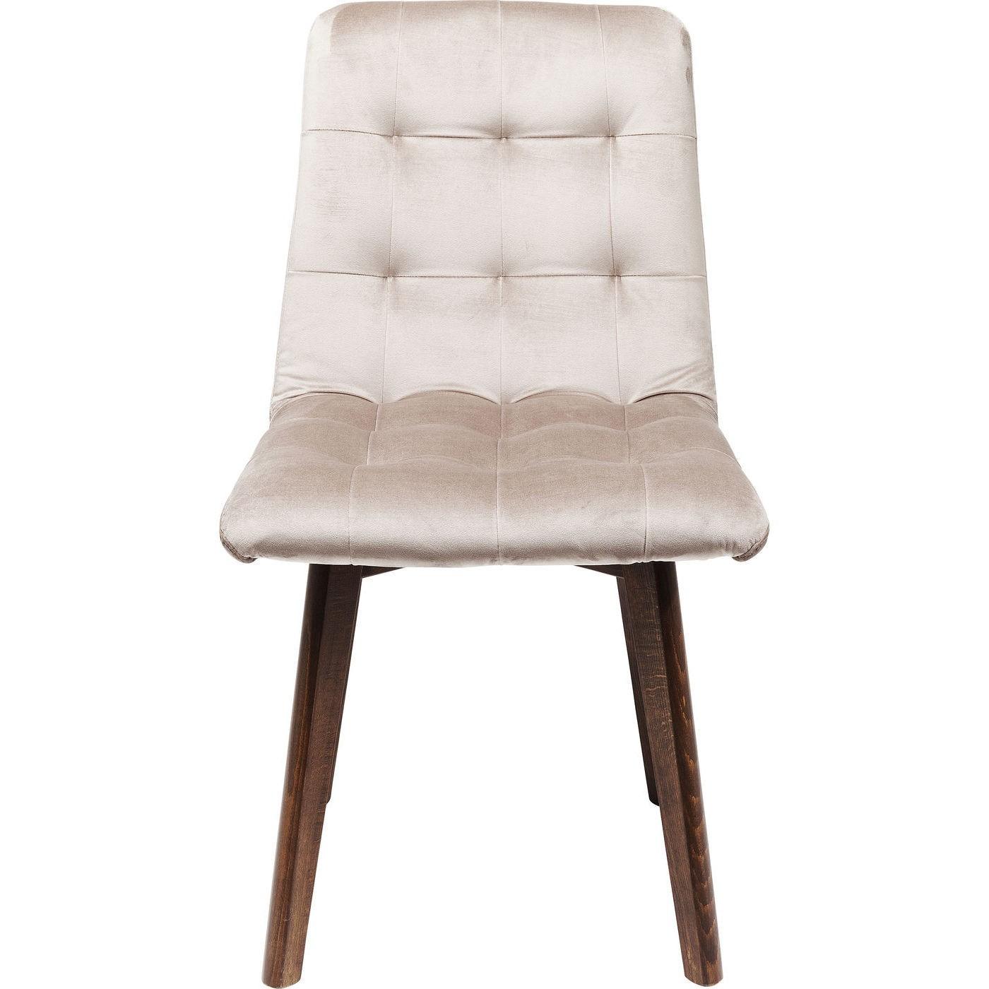 Chaise en velours gris argenté et chêne