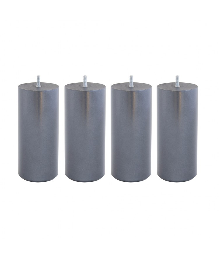 Lot de 4 pieds de lit cylindre H20cm finiton Noir nacré