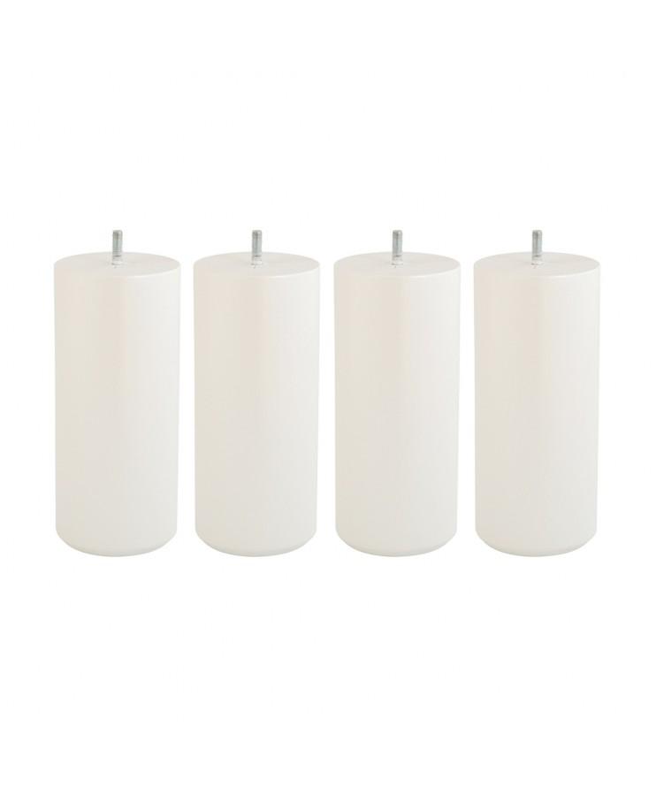 Lot de 4 pieds de lit cylindre H20cm finiton Blanc nacré