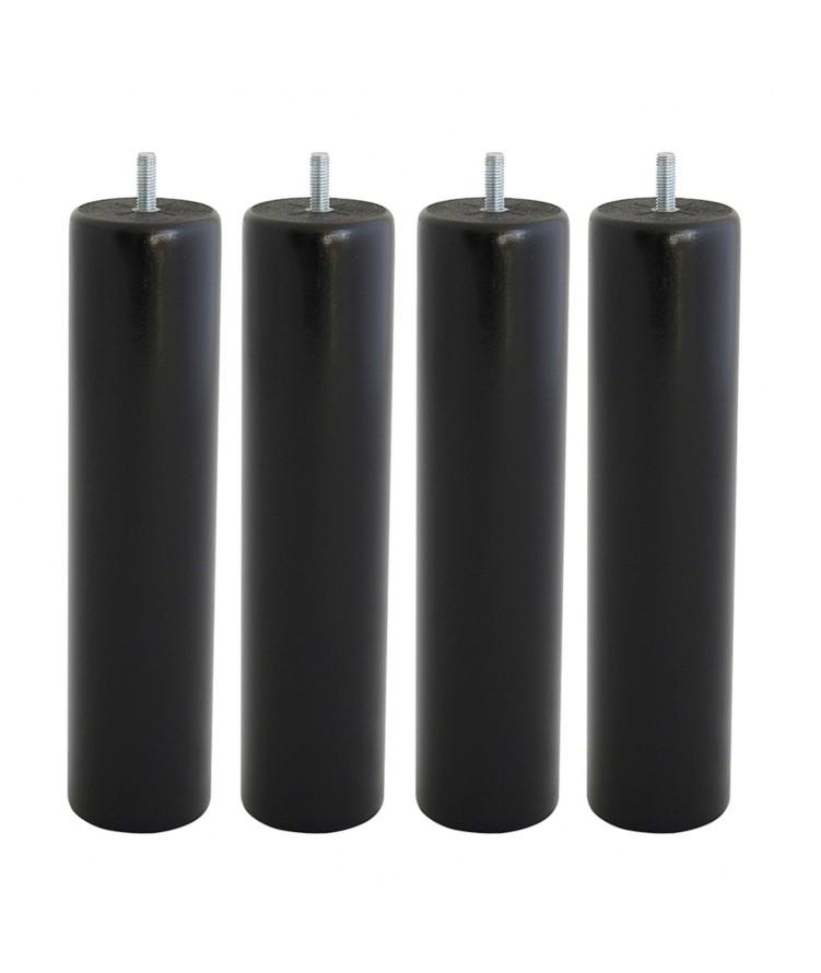 Lot de 4 pieds de lit cylindre H25cm finiton Noir