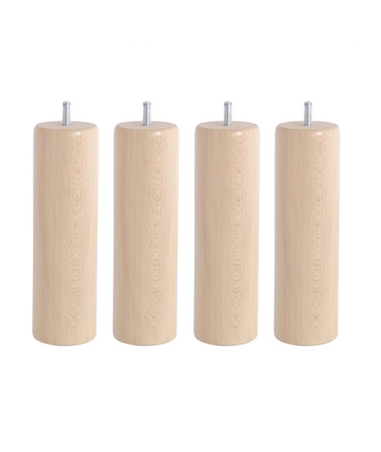 Lot de 4 pieds de lit cylindre H20cm finiton Vernis Naturel
