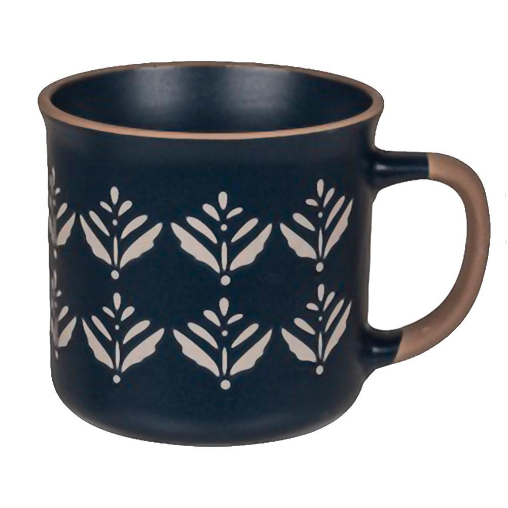 Tasse en céramique bleue motif floral