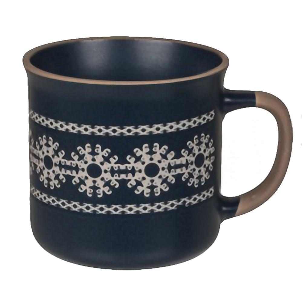 Tasse en céramique bleue motif flocons