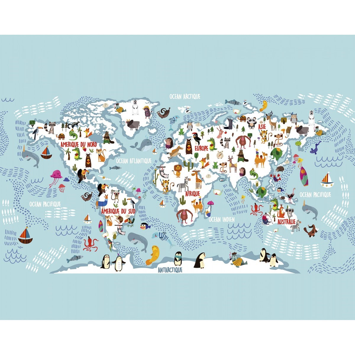 Papier peint panoramique en papier bleu clair 336x270