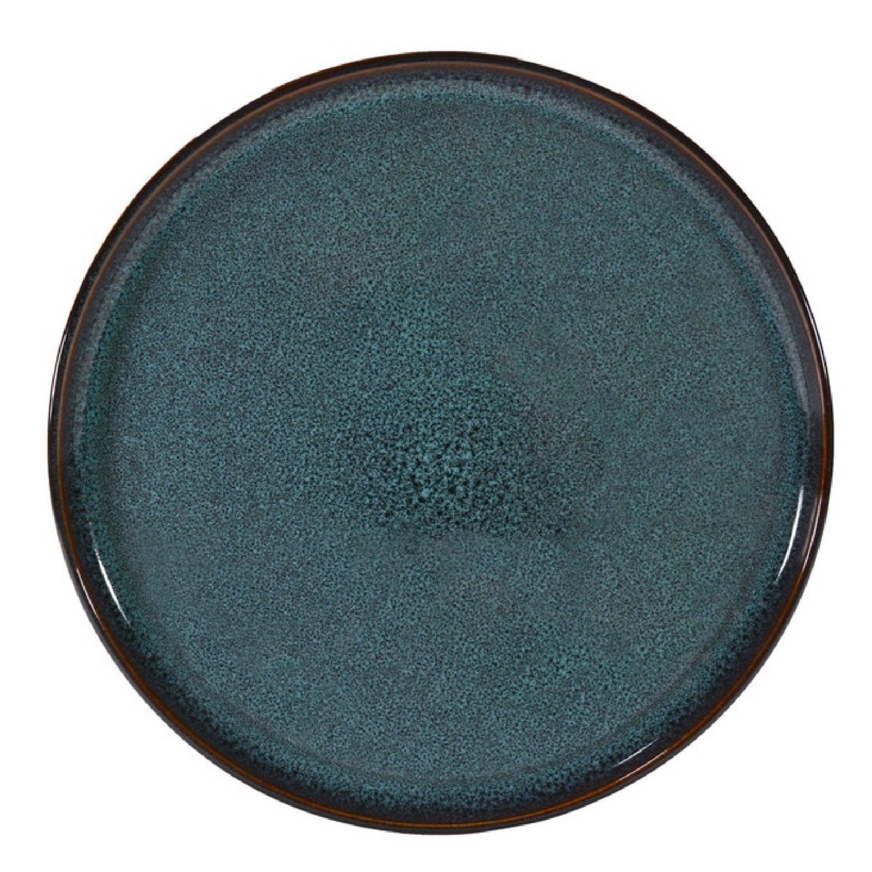Assiette plate en grés artisanal bleu 27 cm - Lot de 4