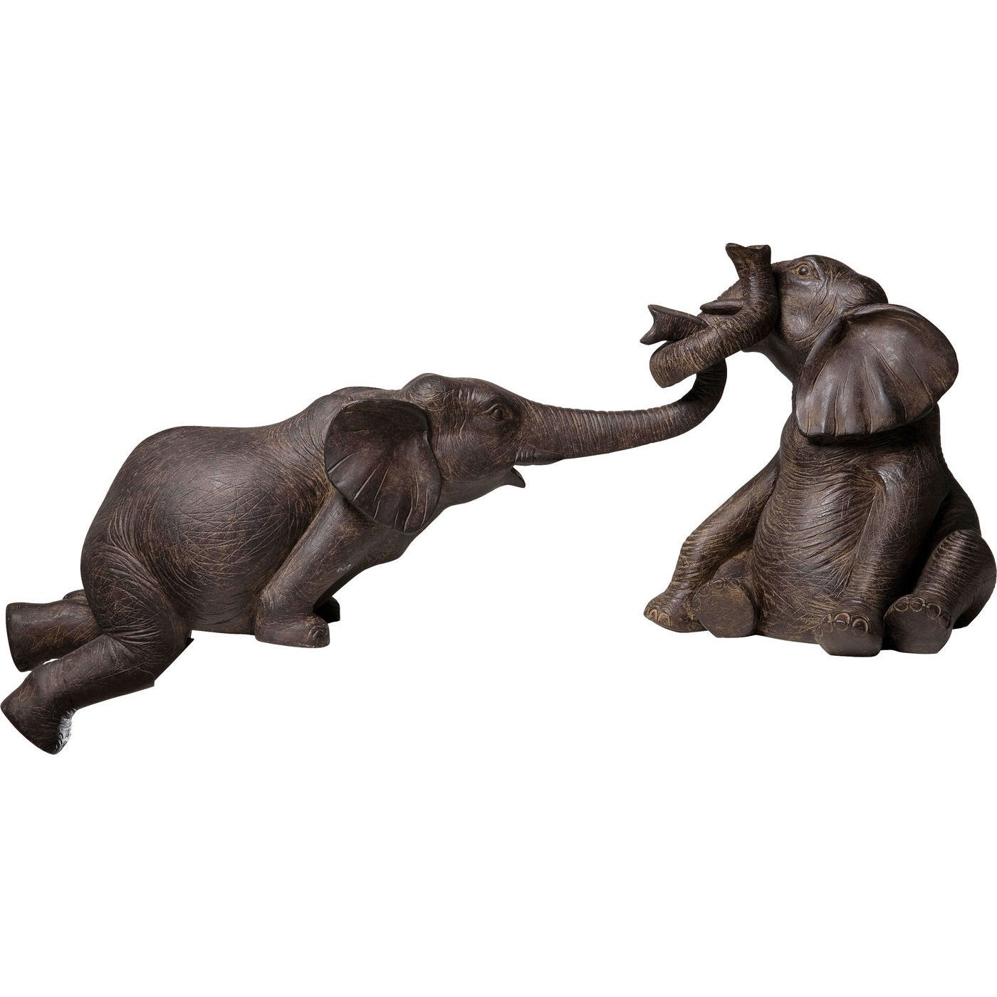 Statuette éléphants en polyrésine marron (x2)