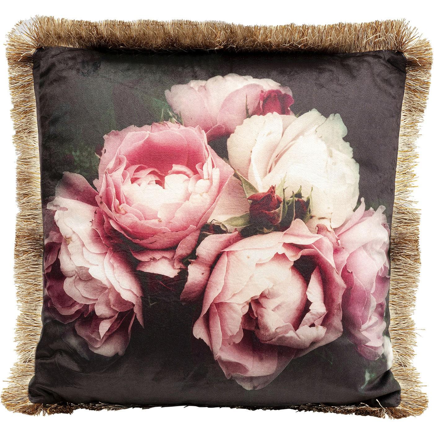 Coussin noir imprimés pivoines roses 45x45