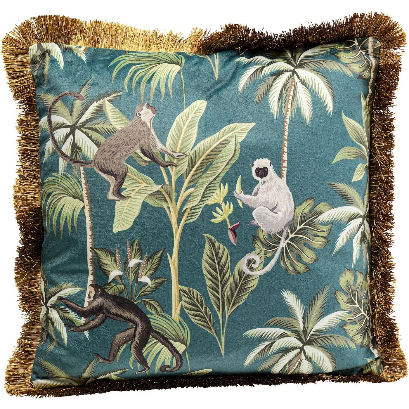 Coussin bleu imprimés singes et feuilles à franges 45x45