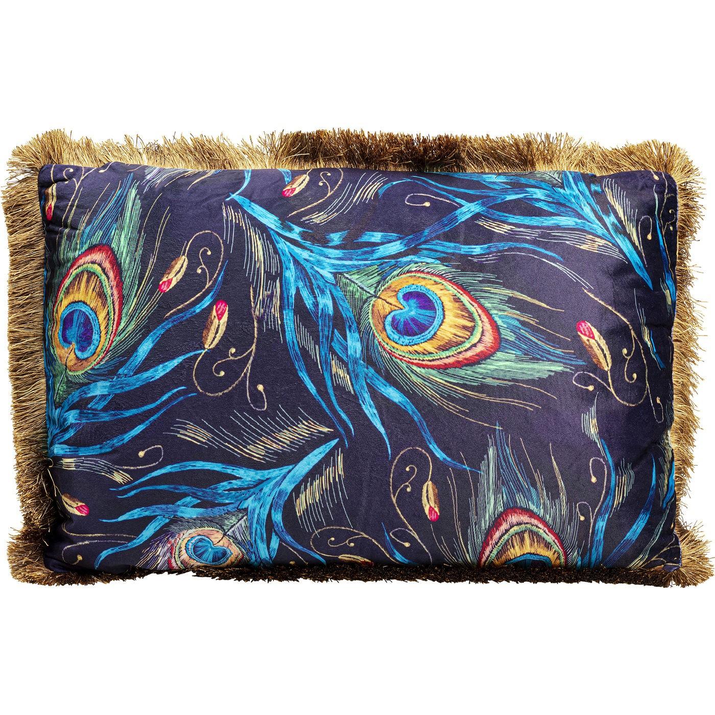 Coussin bleu imprimés plumes de paon 40x60