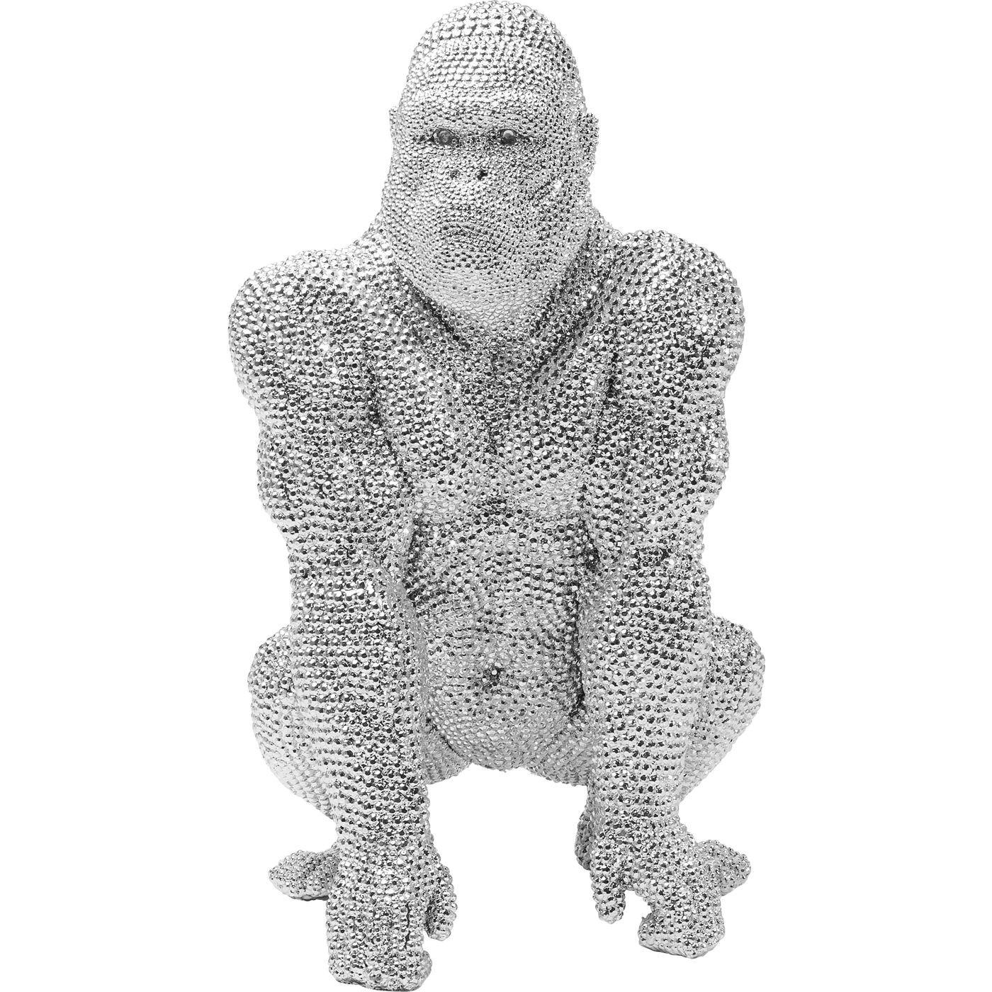 Statuette gorille strass en polyrésine argentée H46