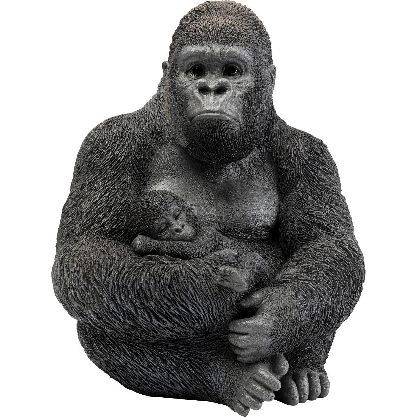 Statuette gorilles en polyrésine noire