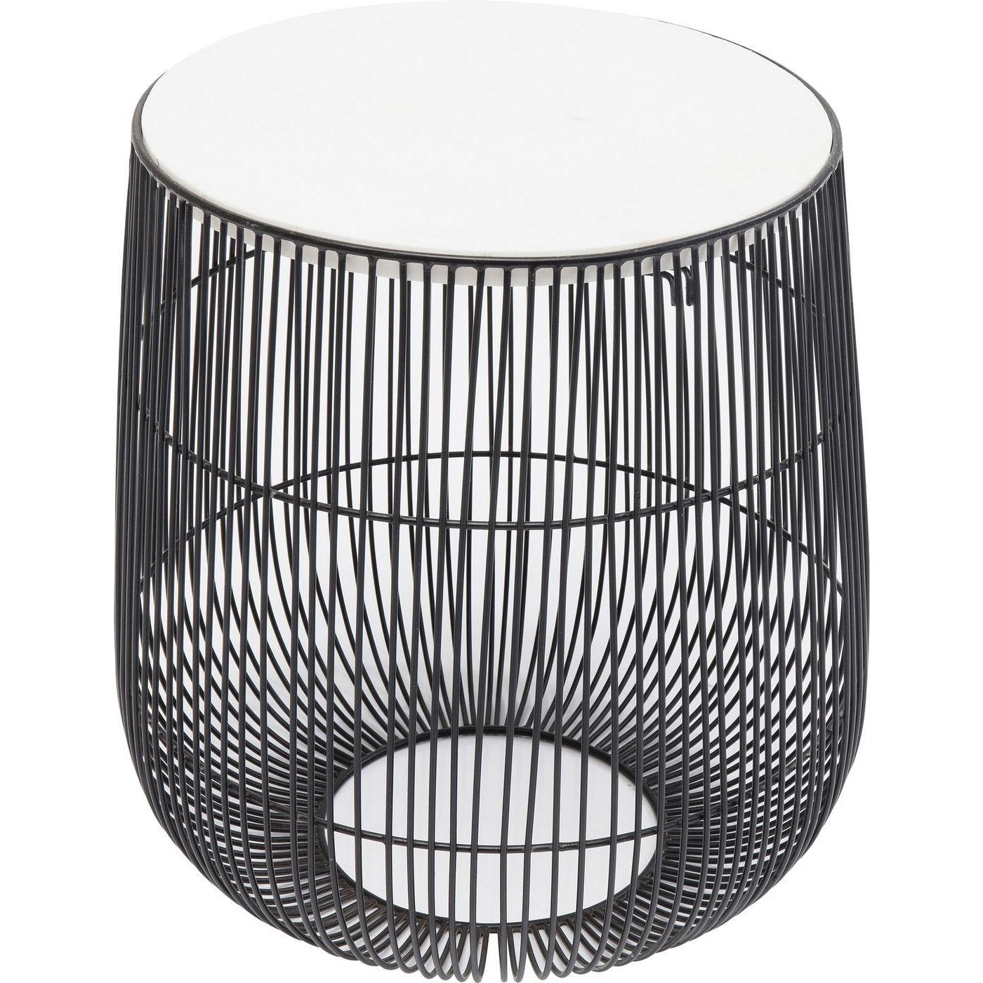 Table d'appoint ronde en marbre blanc et acier noir D32