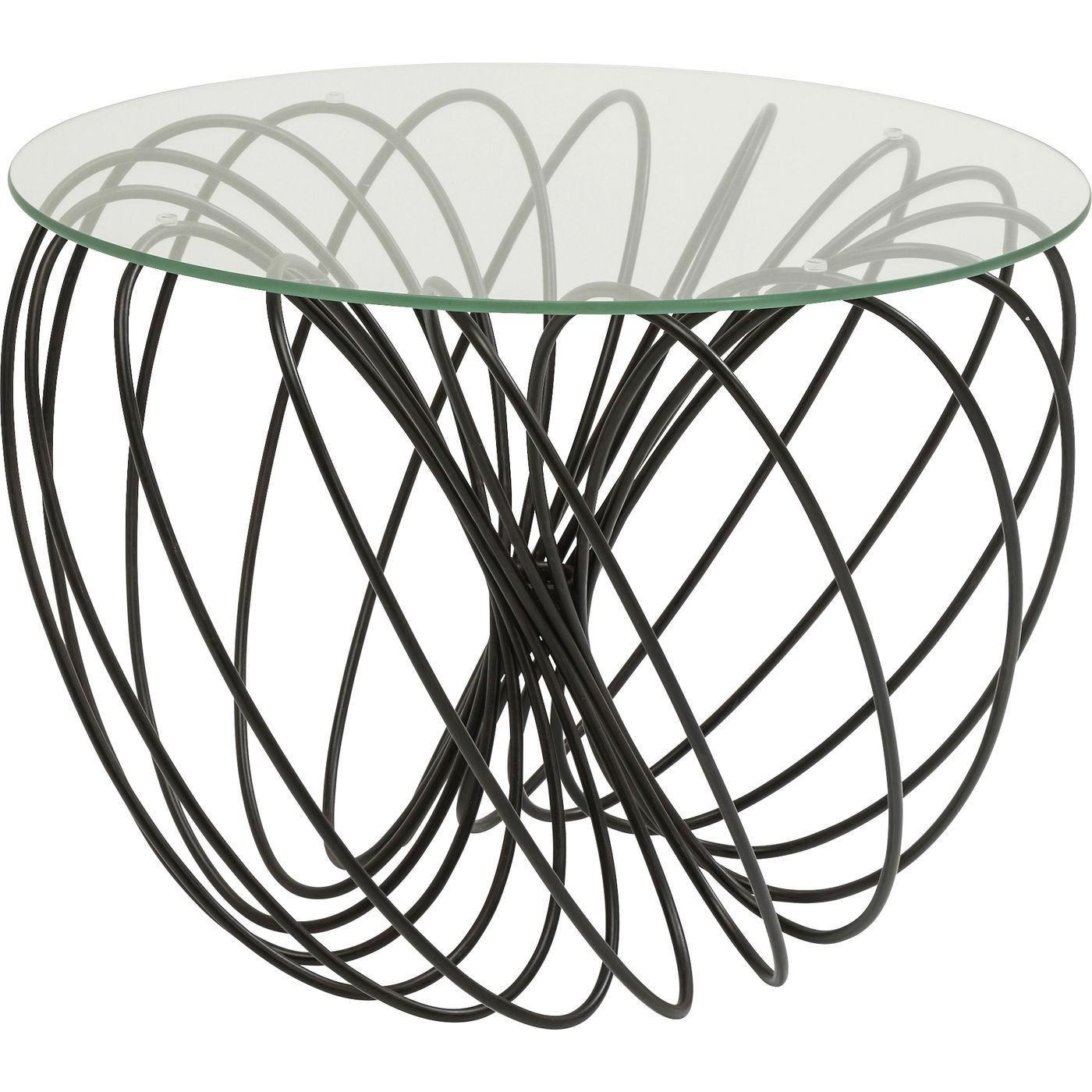 Table basse ronde en verre et acier