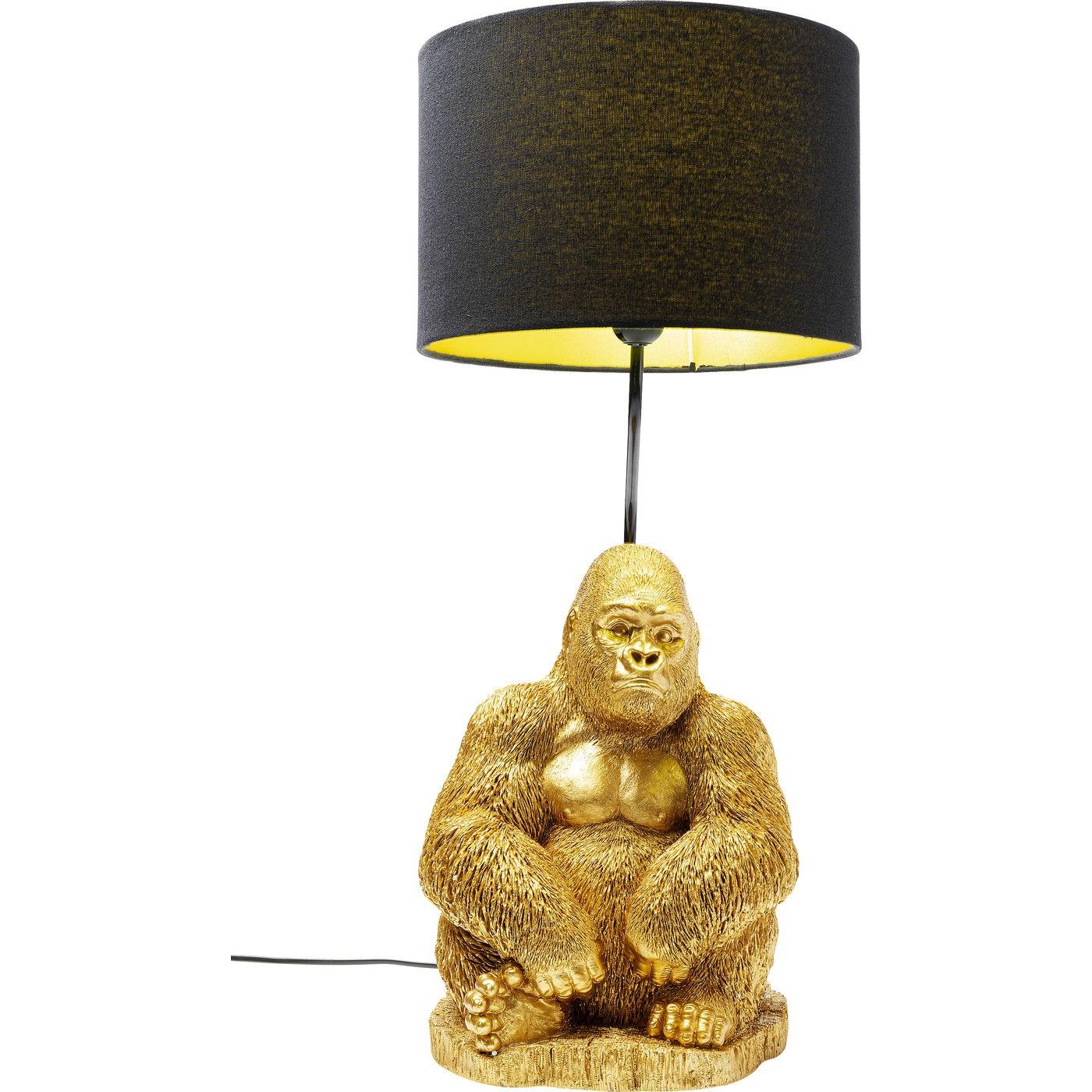 Lampe gorille en polyrésine dorée et abat-jour noir