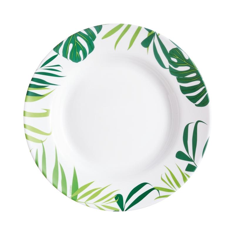 Assiette creuse motifs feuilles D22cm