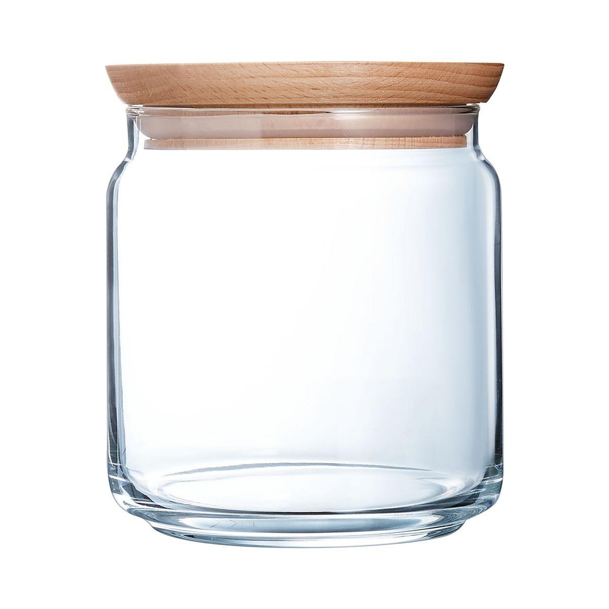 Bocal en verre couvercle bois 0,75L