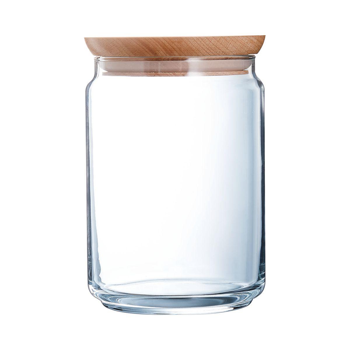 Bocal en verre couvercle bois 1L