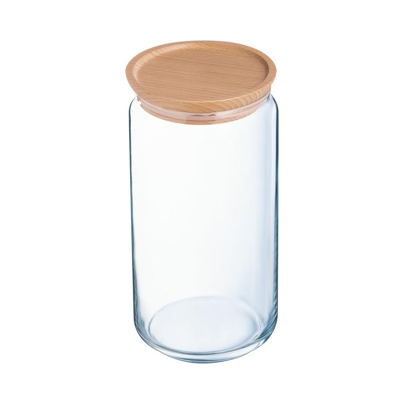 Bocal en verre couvercle bois 1,5L