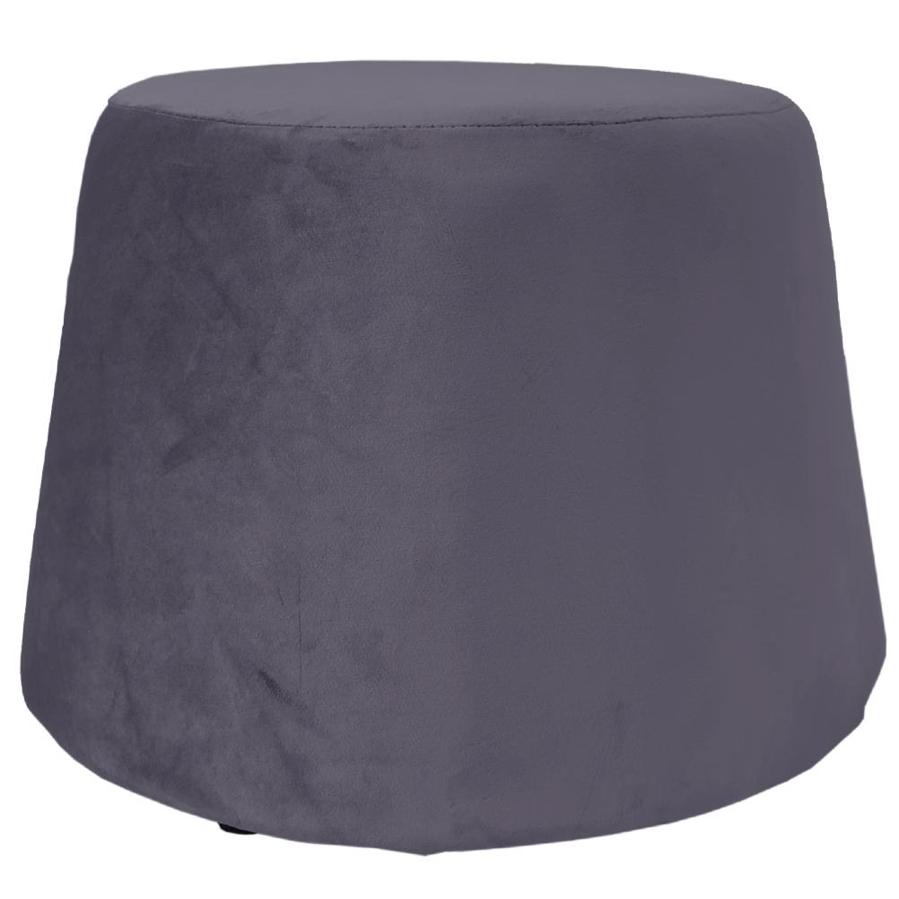 Pouf recouvert de velours gris 31,5x34x46,5cm