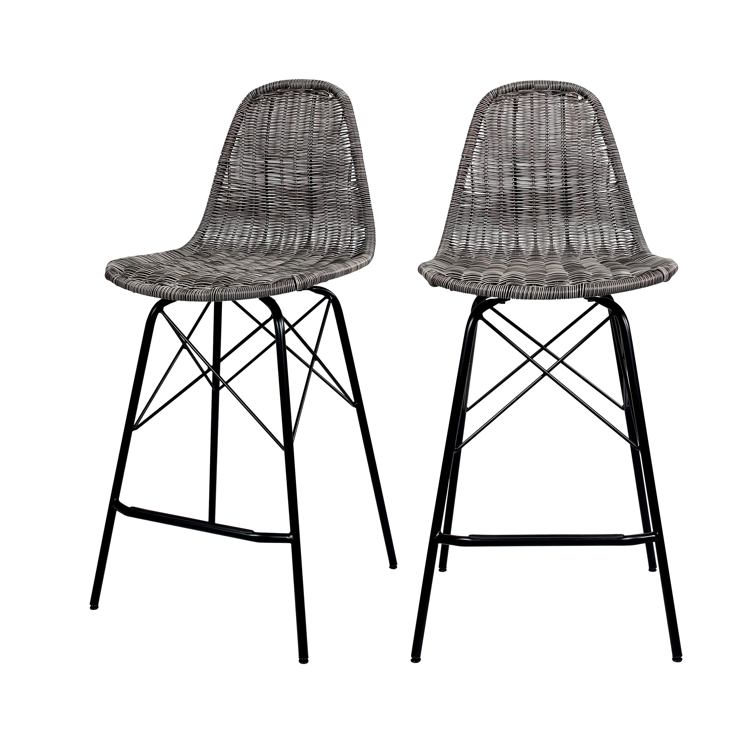 Chaise de bar 63 cm en résine tressé grise (lot de 2)