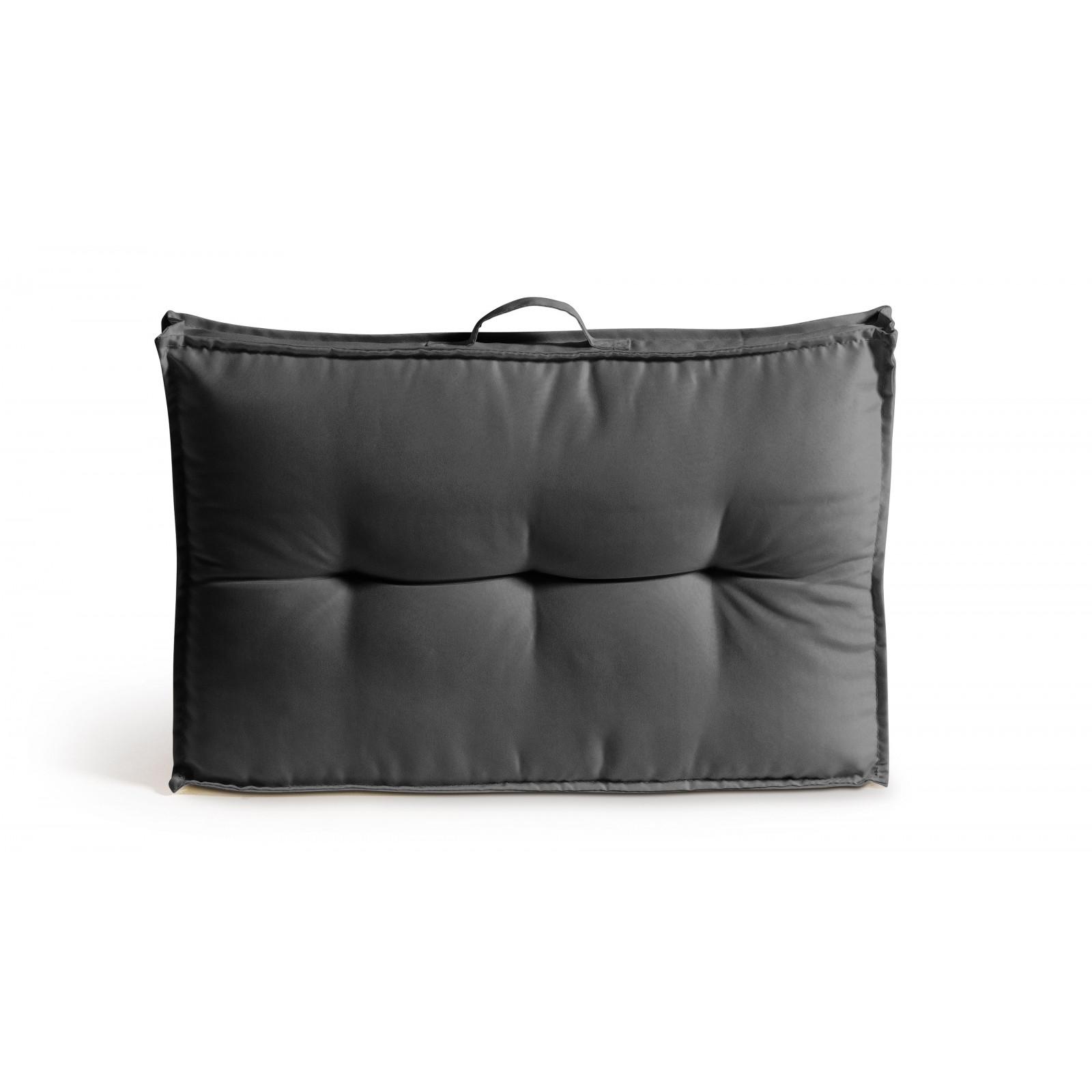 Coussin dossier matelassé polyester gris 60x40