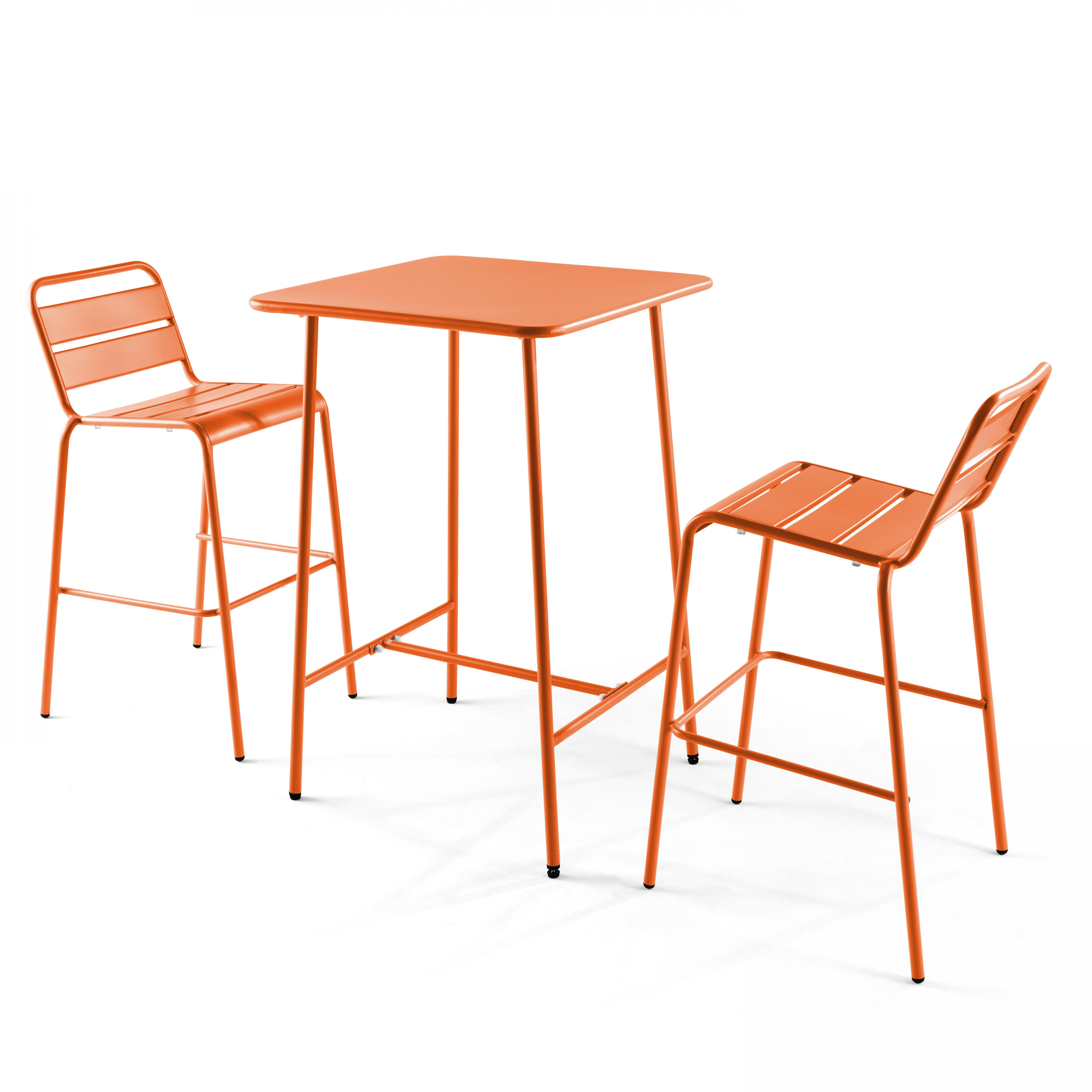 Table de bar et 2 chaises hautes 2 places en acier orange