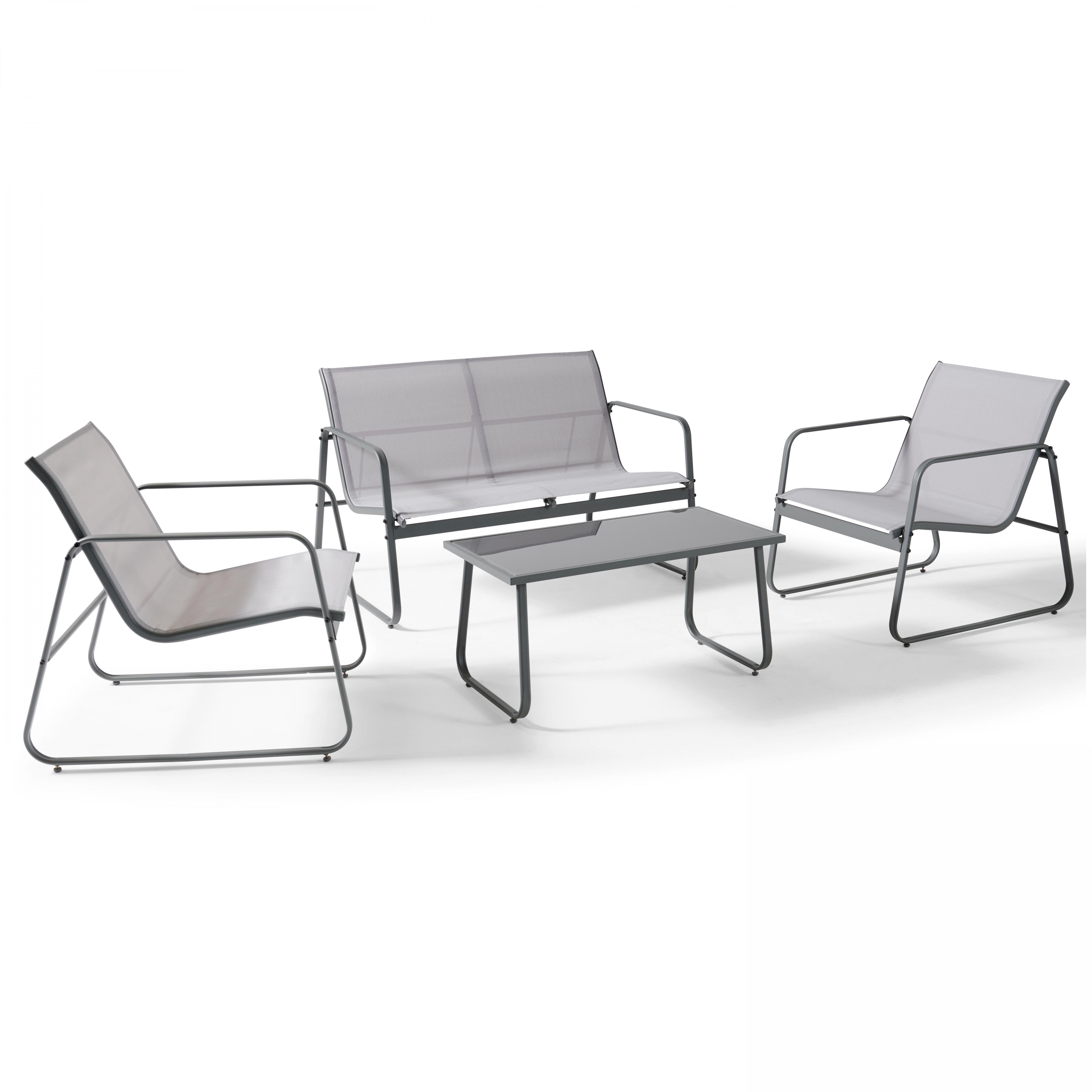 Salon de jardin 4 places en acier gris clair